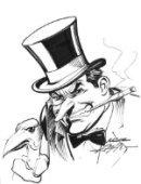 A sketch of The Penguin by long-time Batman artist, Neal Adams