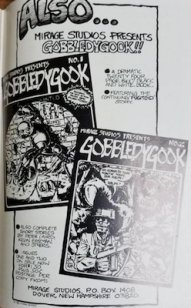 TMNT #1 first printing: inside back cover has a full-page ad for another Mirage publication, Gobbledygook #1
