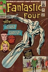 Fantastic Four #50, first full Silver Surfer cover. Click for values