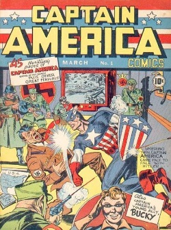 Captain America Comics #1 Patriotic cover to appeal to WW2 readership. Click for values