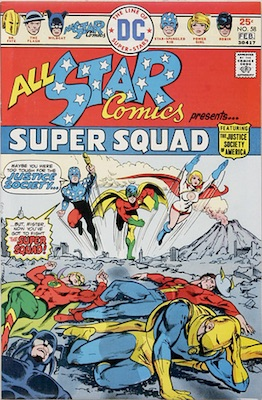 All-Star Comics #58 in January of 1976, return of JSA to the previously Golden Age book, as if All-Star Western had never happened. Click for values