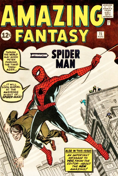 dcf7a5c0 Original first printing of Amazing Fantasy #15. Click for values