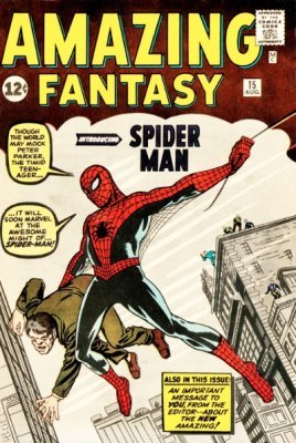 Origin and First Appearance, Spider-Man, Amazing Fantasy #15, Marvel Comics, 1962. Click for values of this key Silver Age comic book