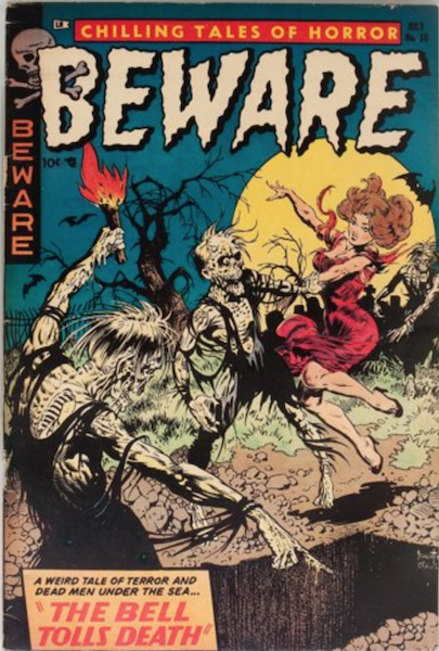 Beware #10 (1954): Zombies Drag Top-Heavy Woman into Grave. Click for value