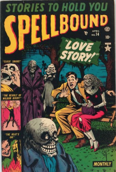 Spellbound #14 (1953): Classic Cover with Man and Zombies in Romantic Park. Click for value