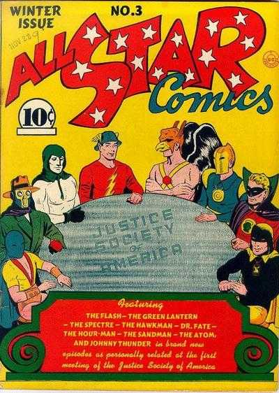 All-Star Comics #3: Origin and First Appearance, Justice Society of America (JSA). A key golden age comic book. Click for values