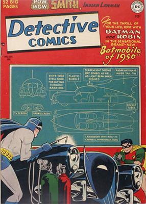 Detective Comics #156 (February 1950): First Classic Batmobile. Click for values