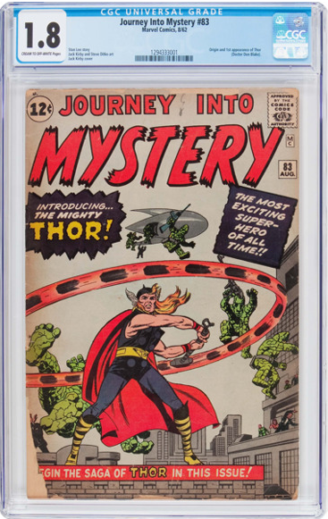 This Journey into Mystery #83 is graded 1.8 by CGC. It has pieces missing and has heavily tanned covers.