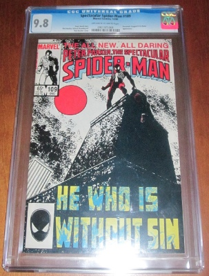 An example of a CGC graded comic book. Spectacular Spider-Man #109