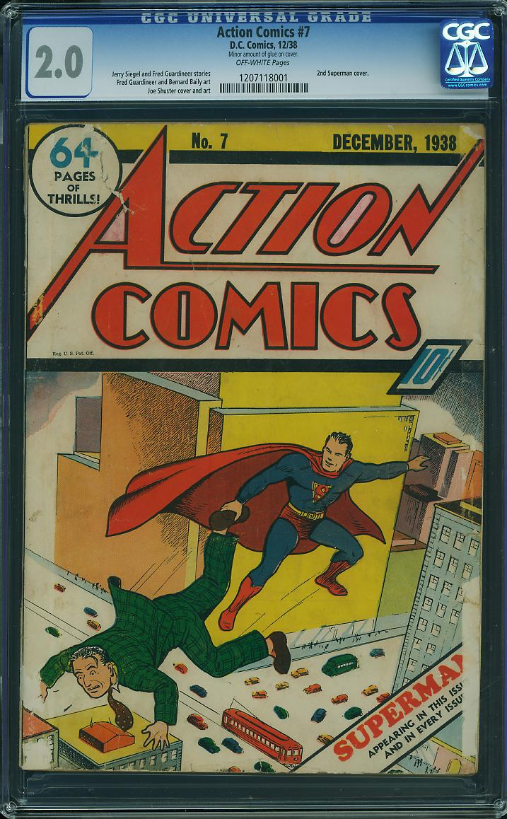We just unearthed this never-before-offered copy of Action Comics #7. Only the second time Superman appeared on a comic book cover!