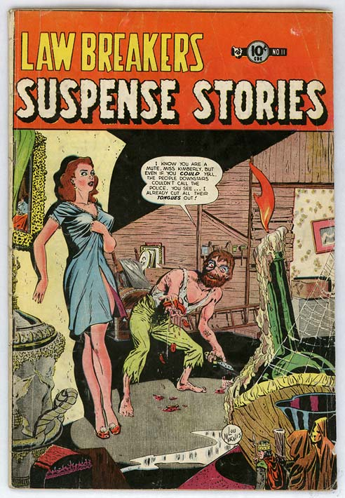 #5 grossest horror cover: Lawbreaker's SuspenStories #11. Madman holding severed tongues cover! Click for value