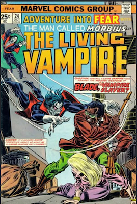 Adventure into Fear #24: Blade the Vampire Slayer Meets Morbius the Living Vampire. Click to buy a copy