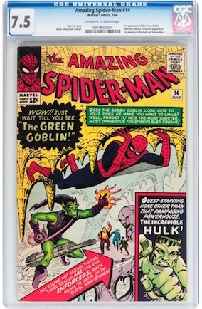 The average copy of an Amazing Spider-Man #14 (1st Green Goblin) is about 3.0. So owning a FN-VF copy like this CGC 7.5 example is great -- and costs the same as the 1988 book!