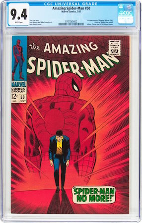...Own an even greater (and much rarer) copy of Amazing Spider-Man#50, a book which features the first appearance of Kingpin. This book normally resembles a dishrag.