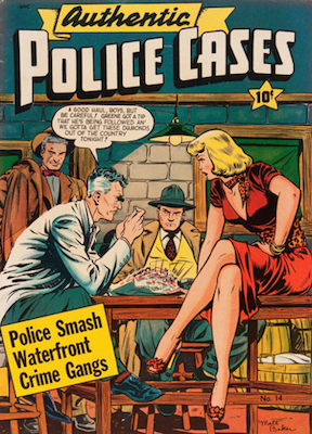Authentic Police Cases #14: classic Matt Baker cover art. Click for values