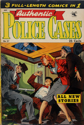 Authentic Police Cases #27, classic cover art by Matt Baker. Click for values