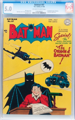 Batman #47 is the first detailed origin of Batman. This is a hot comic with low supply numbers available. Click to find a copy