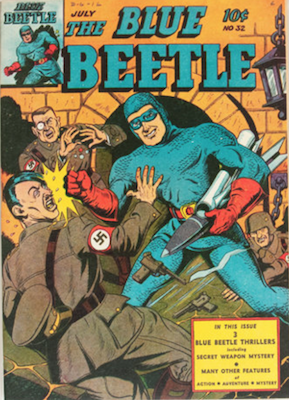 The Blue Beetle #32: Classic Hitler punch cover. Click for current values.