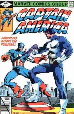 Captain America #241: Classic Cap vs Punisher Cover. Click for values