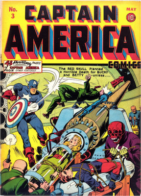 Captain America Comics #3: Classic Red Skull cover; Stan Lee's first work for Marvel. Click for values