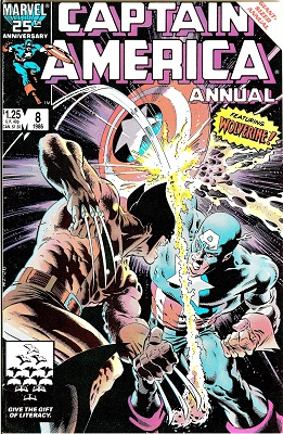 Captain America Annual #8 (1986): First Cap vs Wolverine; 1st Appearance of Tess-One and Overrider. Click for value
