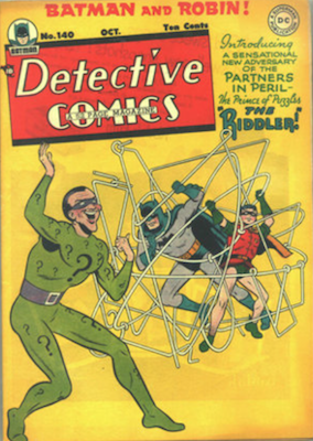 Detective Comics #140: Origin and First Appearance of the Riddler. Click for current values.