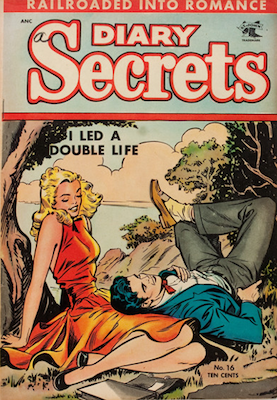 Diary Secrets #16: classic good girl art cover by Matt Baker. Click for values
