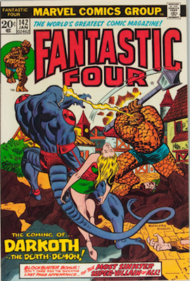 Fantastic Four #142: 1st Appearance of Darkoth the Death-Demon. Click for values