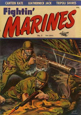 Fightin' Marines #5, classic Matt Baker cover. Click for values