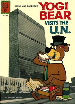 Four Color #1349: Yogi Bear Visits the UN. Click for values.