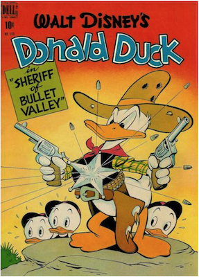 Four Color #199: Donald Duck in Sheriff of Bullet Valley by Carl Barks. Click for values.