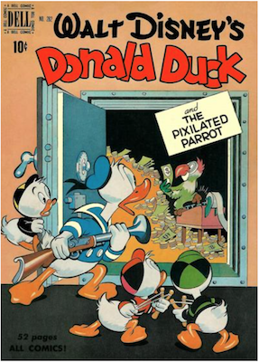 Four Color #282: Donald Duck and the Pixellated Parrot by Carl Barks. Click for values.