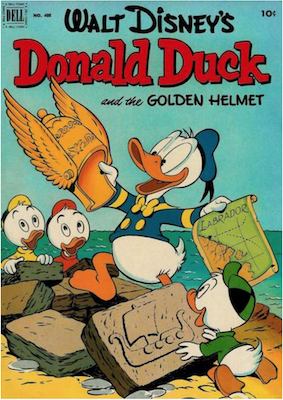 Four Color #408: Donald Duck and the Golden Helmet by Carl Barks. Click for values.