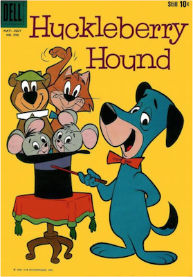 Four Color #990: Huckleberry Hound (#1) First appearance of Huck, Yogi Bear, Pixie & Dixie and Mr. Jinks. Click for values.