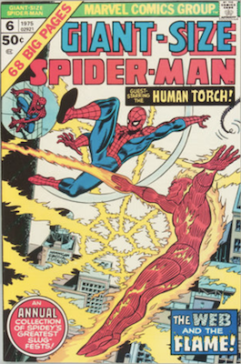 Giant-Size Spider-Man #6, Human Torch battle. Click for values