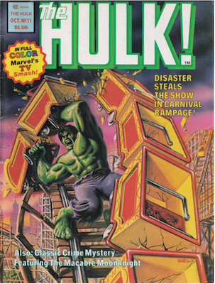 Hulk Magazine #11 (1978): Moon Knight stories begin in title. Click for values.