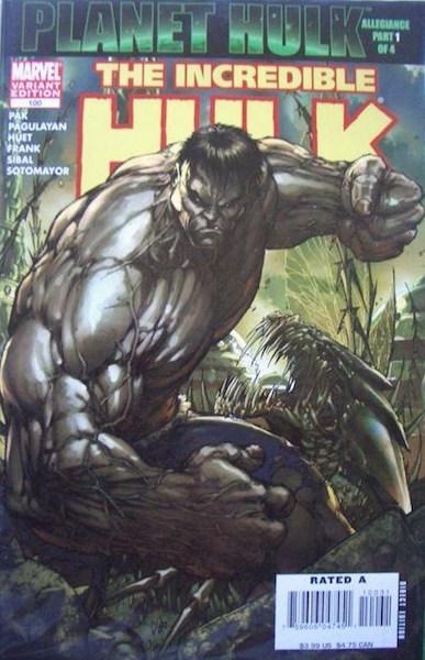 #97: Incredible Hulk 100 Turner (Gray Hulk) Variant (2007). Click for values