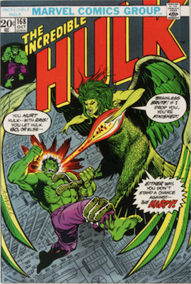 Incredible Hulk #168, 1st Harpy. Click for values