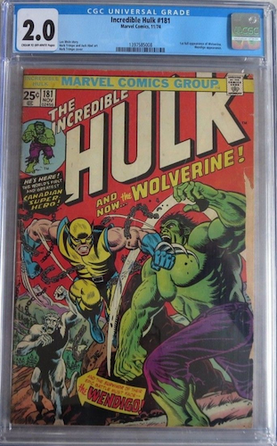 This Hulk 181 is at least complete. But it's missing a big portion of the right edge, torn off or tape pull gone horribly wrong