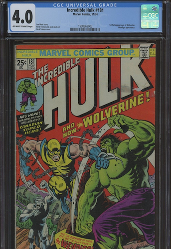 Incredible Hulk #181 CGC 4.0 includes stains and other major faults. Well overpriced in my opinion