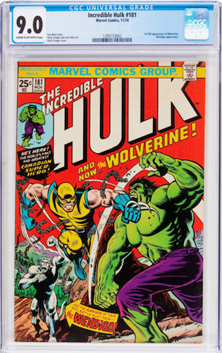 Incredible Hulk #181 CGC 9.0. A very respectable copy of this Bronze Age key