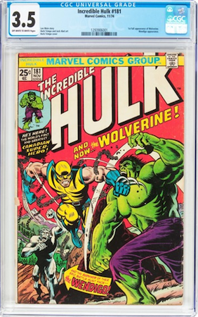 THIS Incredible Hulk #181 CGC 3.5? The 2.0 sold for $771... the 3.5 for $720! I kid you NOT.