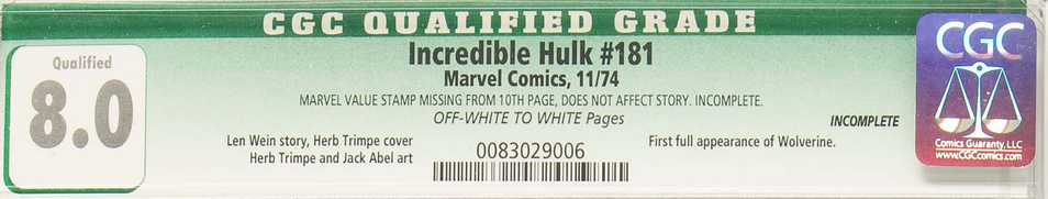 It's important to note that this issue contains a Marvel Value Stamp. CGC copies missing this are given a green