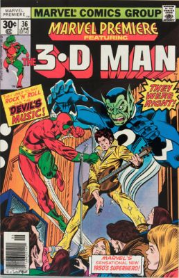 Marvel Premiere #36 (June, 1977): 3-D Man. Click for values