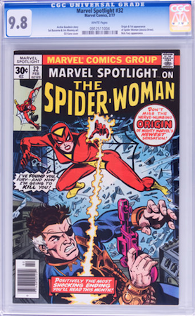 100 Hot Comics #30: Marvel Spotlight 32, 1st Spider-Woman. Click to buy a copy