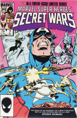 Marvel Super Heroes Secret Wars #7: 1st appearance of the new Spider-Woman (Julia Carpenter). Click for values