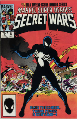 Marvel Super Heroes Secret Wars #8: origin of the Symbiote costume. Click for values