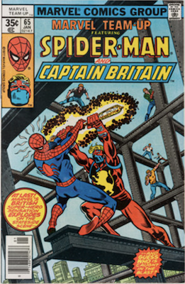 Marvel Team-Up #65, 1st US appearance of Captain Britain. Click for values