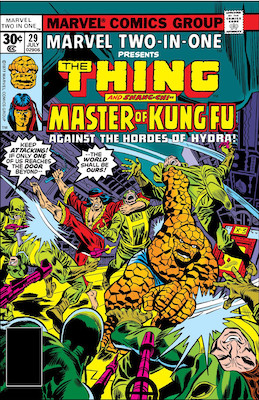 Marvel Two-in-One #29: Spider-Woman cameo first appearance. Click for values