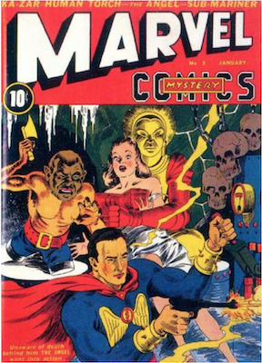 Marvel Mystery Comics #3: 1st new logo, early use of TV in comic stories. Click for values